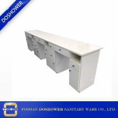 China three seat white wooden manicure table  high durable surface white modern manicure table factory